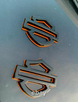 Custom Harley Hd Cvo Tank Emblems Badges Handcrafted Glossy Black Orange