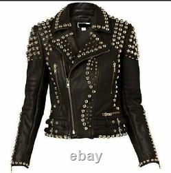 Customized Handcrafted Women's Black Color Silver Studded Genuine Leather Jacket