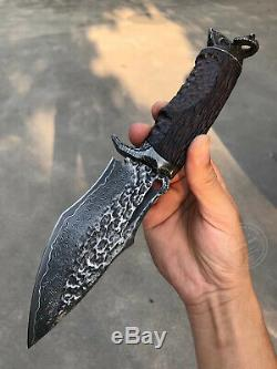 Damascus Fixed Blade Vg10 Hunting Knife Art Handcrafted Seller Emazing Deal