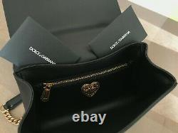 Dolce & Gabbana Black Leather Devotion Bag Hand Crafted In Italy Logo Box & Tags