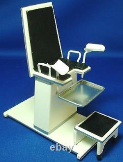 Doll miniature handcrafted Medical GYN Chair black 1/12
