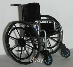 Dollhouse miniature handcrafted Medical Wheelchair black 1/12th scale Modern