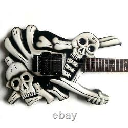 Electric skull guitar by handcraft in black