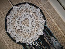Extra large dream catcher heart wall hanging grey teal black wedding decor blue