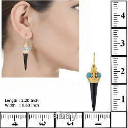 Fascinating Turquoise & Black Onyx 14K Vermeil Gold Over Sterling Silver Earring