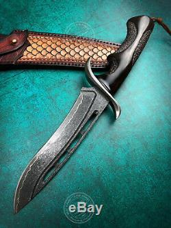 Forged Damascus Hunting Knife Bowie Rescue Handcrafted Knife Fixed Blade Black