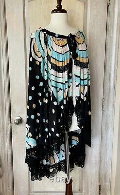 Free People Poncho Cape Handcrafted Hi Lo Crochet TieNeck Black Print Dot XS NWT