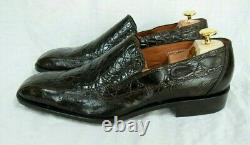 Genuine Aligator-Ostrich Shoes Slip-on Loafers Black #2368 Size 9&12 Handcrafted
