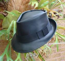 Genuine Black Leather Hand Crafted Fedora / Gangster Hat Michael Jackson Style