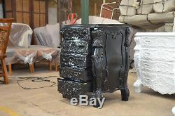 Gothic BLACK Designer Handcrafted Mahogany French style 85cm Chest of Drawers