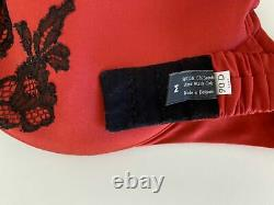 Hand Crafted Carine Gilson Red Silk Black Lace Bra 34D 90D Lingerie Belgium