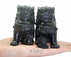 Hand-Crafted Pair NATURAL BLACK JADE Chinese Lion FOO/ FU Dogs Carving Sculpture