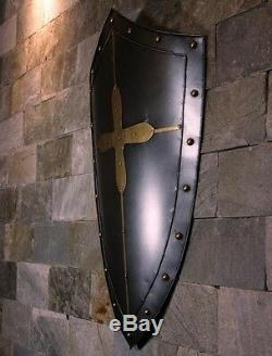 Hand-Made Europea Handcrafted Medieval Crusader Knight Shield All Metal
