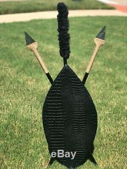 Handcrafted Black Crocodile Shield-and-Spear