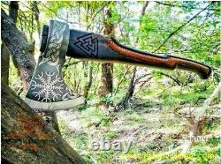 Handcrafted Carbon Steel Viking Axe, ValKnut work, Tactical Axe, Viking Style