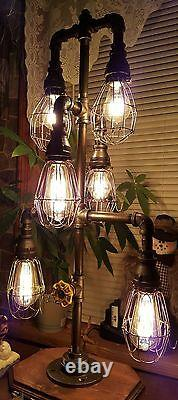 Handcrafted Industrial Pipe Home Desk, Table lamp, antique, vintage, home decor