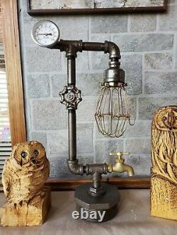Handcrafted Industrial style Pipe Desk, table, steampunk home decor lamp, lighting