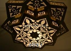 Handcrafted Moroccan 20 Oxidize Gold Bras Star Chandelier Ceiling Light Fixture