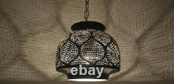 Handcrafted Moroccan Black Oxidize Brass Ceiling light Fixture Lamp Lantern