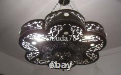 Handcrafted Moroccan Black Oxidize Brass Jeweled Chandelier Lamp Light