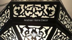 Handcrafted Moroccan Black Oxidized Brass Ceiling Light Fixture Chandelier