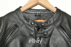 Handcrafted NEW Womens Large L Black Leather Zip Front Biker Motorcycle Jacket