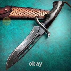 Handforged Damascus Steel Hunting Knife Rescue Fixed Blade Black With Sheath