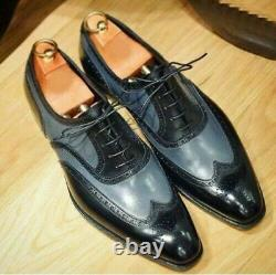 Handmade Men Two Tone Wing Tip Formal Shoes, Men brogue Leather Dress Shoes