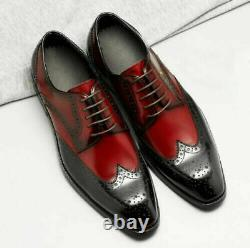 Handmade Men's Two tone wing tip brogue dress shoes, Men formal leather shoes