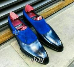 Handmade blue suede and plain leather monk shoes custom dress shoes