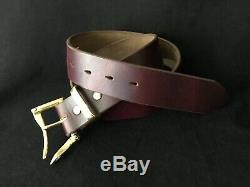 Horween CXL Leather Belt Burgundy #8. Firefighter Buckle. Hand Crafted New