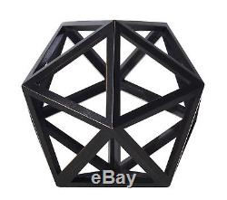 Icosahedron Black 3D Geometric Water Figurine Model 9 Wooden Polyhedron Decor