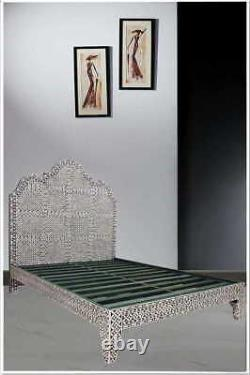 Indian handcrafted Bone Inlay 4 Poster Bed Black Color Modern Style For Bed Room