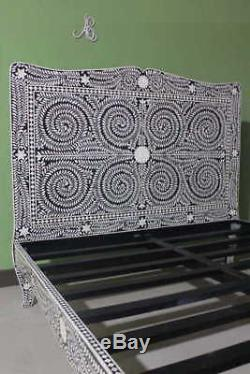 Indian handcrafted Bone Inlay Bed Floral Black Color Modern Style For Bed Room