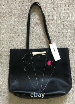 Kate Spade New York Handcrafted On Purpose Black Tuxedo Leather Tote NWT
