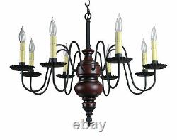 Katie's Frederick Primitive Wood Chandelier Colonial, Country, Rustic Colors