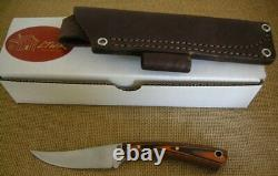 LT Wright Handcrafted Fixed Blade Knife, Large Swoop, A2, Flat, Orange/Black