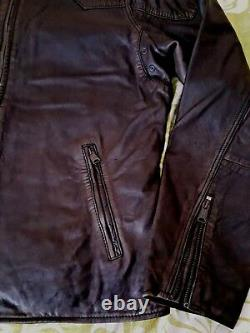 LUCKY BRAND Thruxton Moto Handcrafted Lamb Leather Black Mens Jacket L