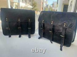 Large 15 Hand-Crafted Two Saddle Bag Real Leather Motorcycle Luggage 2 Side Bag
