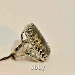 Louisiana BLACK Opal, Sterling Silver Hand Made Filagree Ring + Post cards