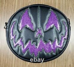 Love Pain & Stitches Handcrafted Black and Purple Stark Raving Pumpkin Bag