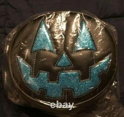 Love Pain & Stitches Small Black & Glitter Baby Blue Happy Face Handcrafted New