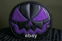 Love Pain and Stitches HAND CRAFTED MEAN PUMPKIN BLACK AND PURPLE Glitter Bag