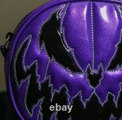 Love Pain and Stitches Hand Crafted Bad Company Purple and Black Glitter Bag