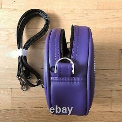 Love Pain and Stitches Handcrafted Purple with Patent Black Bat mouth Bag