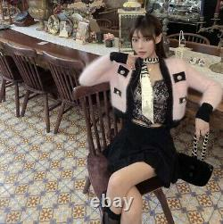 Lux knit short fluffy mink mohair gold button sweater cardigan pink black white