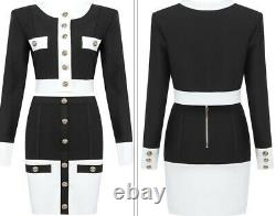 Luxury chic gold button bodycon bandage black white skirt jacket suit set outfit