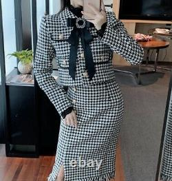 Luxury chic houndstooth gold tweed jacket blazer pencil skirt suit set outfit 2