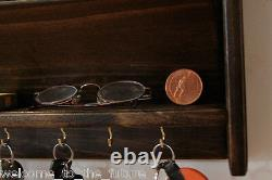 Mail Letter Rack Handcrafted Wood Organizer Key Holder WALL or DESK Blk Jacobean