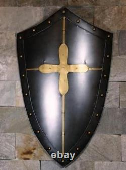 Medieval Black Antique Knight Shield Handcrafted Steel & Brass Metal Used